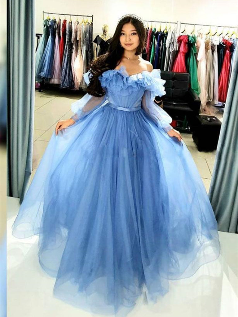 Princess Off Shoulder Long Sleeves Blue Prom Dresses, Off the Shoulder Blue Formal Graduation Evening Dresses