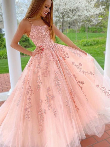 Princess Pink Lace Long Prom Dresses with Straps, Pink Lace Formal Graduation Evening Dresses