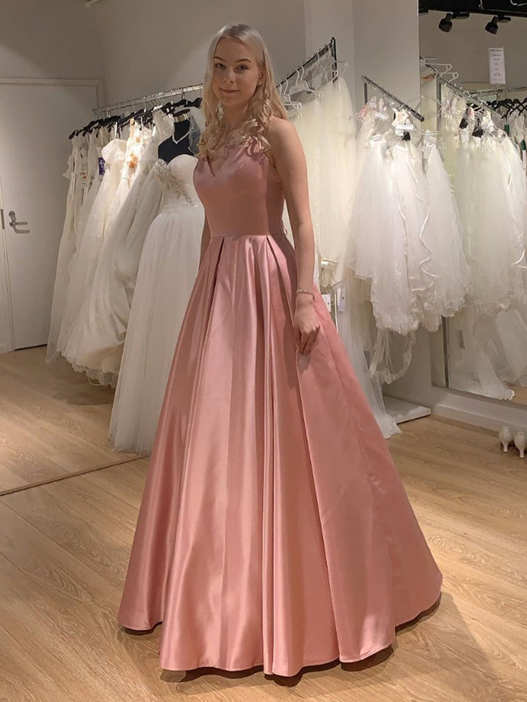 Princess V Neck Satin Long Pink Prom Dresses with Cross Back, V Neck Pink Formal Graduation Evening Dresses