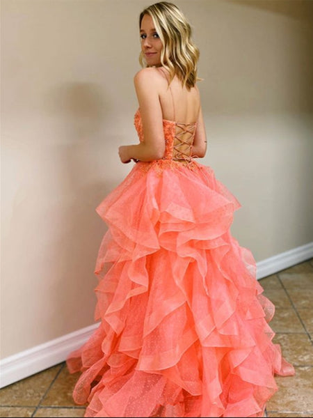 Princess Tulle Backless Long Coral Prom Dresses with Beadings, Backless Coral Formal Dresses, Beaded Coral Evening Dresses