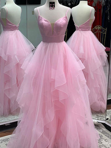 Princess V Neck Backless Pink Prom Dresses, Backless Pink Formal Dresses, Fluffy Pink Evening Dresses, Pink Ball Gown