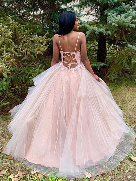 Princess V Neck Lace Appliques Pink Long Prom Dresses, V Neck Pink Lace Formal Dresses, Pink Lace Evening Dresses