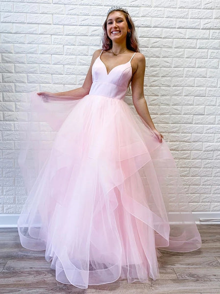 Princess V Neck Long Pink/Light Blue Prom Dresses, Puffy Pink/Light Blue Formal Evening Dresses, Light Blue Party Dresses, Pink Ball Gown