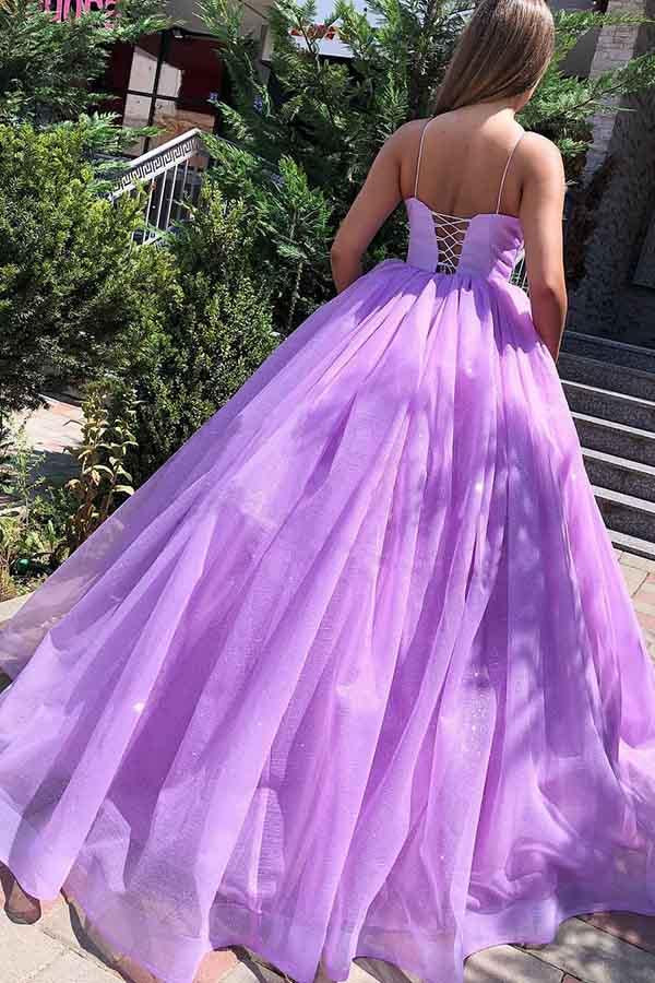 88a84633f7 ... Purple Spaghetti Straps Backless Tulle Princess Long Ball Gown Prom  Dresses