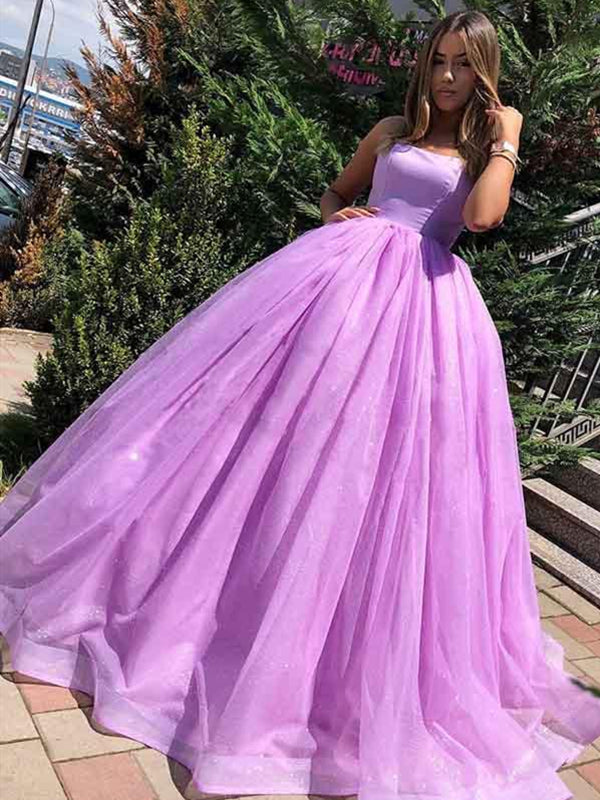 Purple Spaghetti Straps Backless Tulle Princess Long Ball Gown Prom Dresses, Lilac Purple Formal Graduation Dresses, Evening Dresses