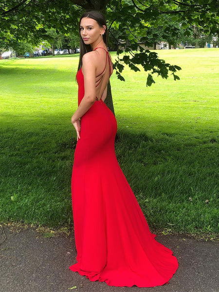 Red Mermaid Backless Long Prom Dresses, Mermaid Red Formal Dresses, Red Evening Dresses