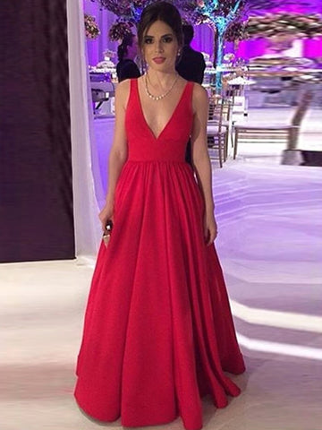 Red A Line V Neck Backless Long Prom Dresses, V Neck Red Formal Dresses, Red Evening Graduation Dresses