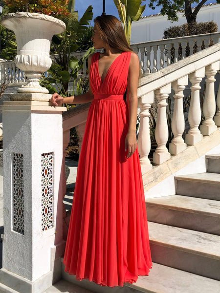 Red A Line V Neck Floor Length Pleated Chiffon Long Prom Dresses, V Neck Red Formal Dresses, Evening Dresses