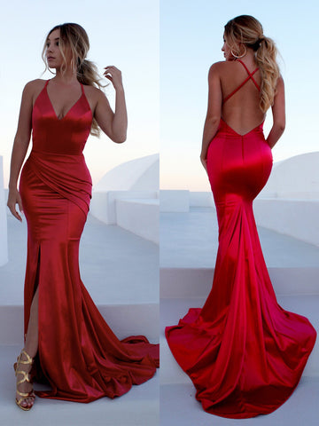Red Mermaid Backless Satin Long Prom Dresses with Leg Slit Train, Red Mermaid Formal Dresses, Red Evening Dresses