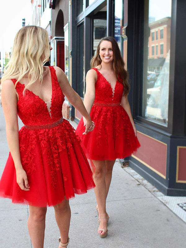 Red V Neck Lace Prom Dresses, Red Homecoming Dresses, Short Lace Dresses