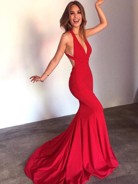 Red V Neck Mermaid Backless Long Prom Dresses with Sweep Train, Red Mermaid Backless Formal Dresses, Evening Dresses