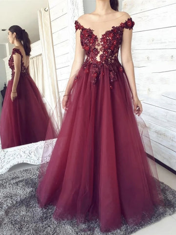 Round Neck Backless Burgundy Floral Lace Long Prom Dresses, Floral Burgundy Lace Formal Graduation Evening Dresses