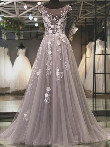 Round Neck Backless Grey Lace Floral Long Prom Dresses, Backless Gray Formal Dresses, 3D Flower Gray Evening Dresses