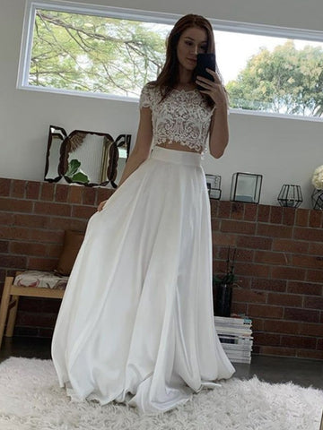 Round Neck Cap Sleeves 2 Pieces White Lace Prom Dresses, Two Pieces White Lace Formal Dresses, White Lace Evening Dresses