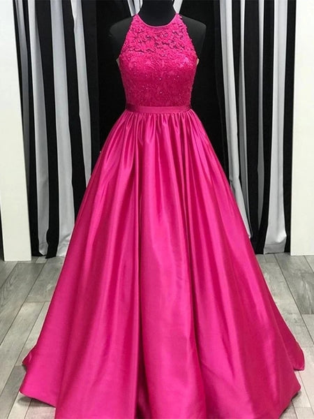 Round Neck Fuchsia Lace Long Prom Dresses, Fuchsia Lace Formal Dresses, Fuchsia Evening Dresses