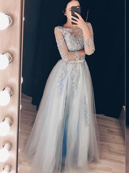 Round Neck Long Sleeves Grey Lace Long Prom Dresses, Grey Lace Formal Graduation Evening Dresses