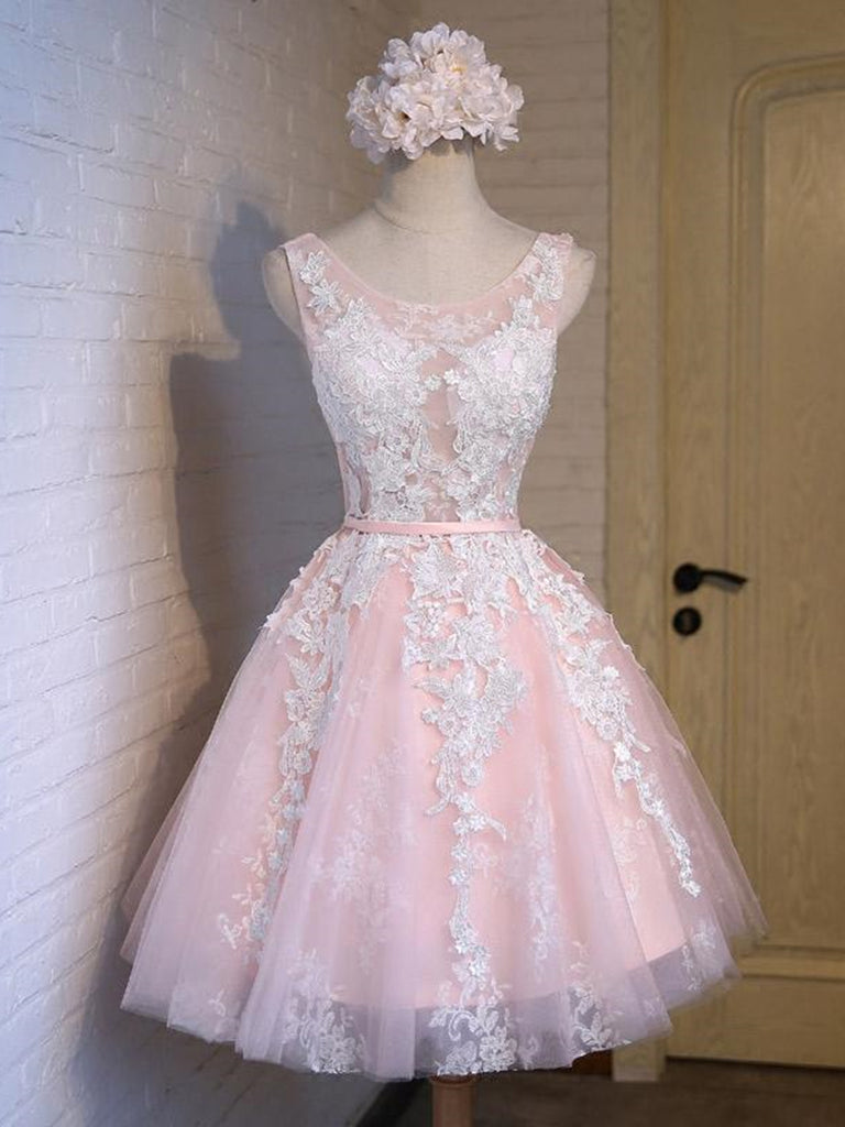 Round Neck Short Pink Lace Prom Dresses, Pink Lace Formal Graduation Evening Dresses, Pink Homecoming Dresses