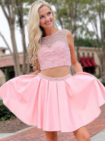 Round Neck 2 Pieces Beades Pink Prom Dresses, Pink 2 Pieces Homecoming Dresses, Pink Short Formal Dresses