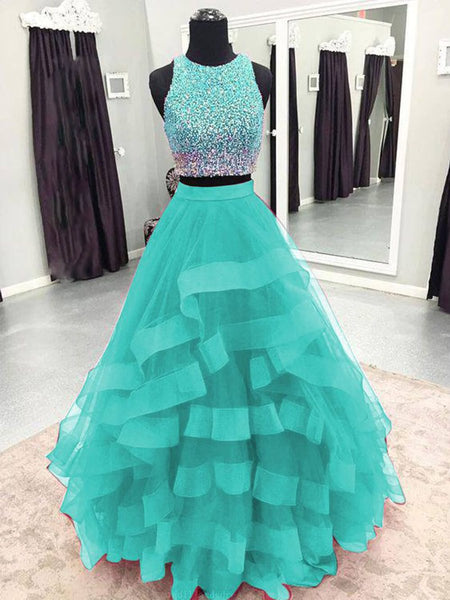 Round Neck 2 Pieces Green/Burgundy/Blue Tulle Sequins Long Prom Dresses, 2 Pieces Green/Burgundy/Blue Formal Evening Dresses