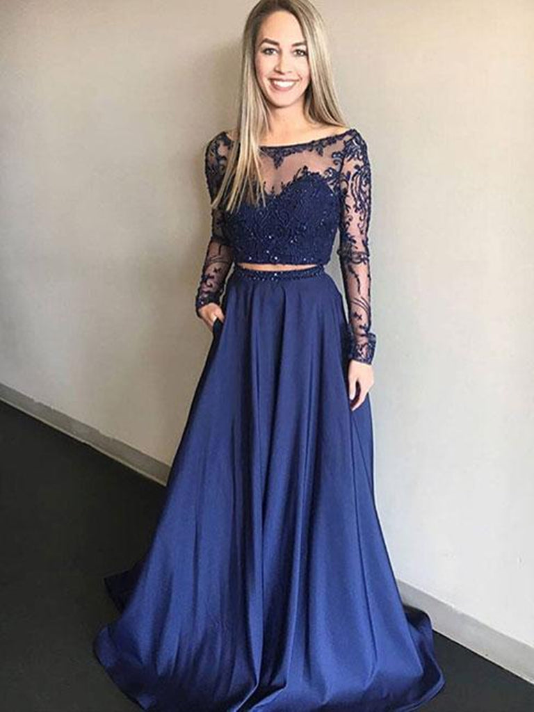 Round Neck 2 Pieces Long Sleeves Lace Blue Long Prom Dresses, 2 Pieces Blue Lace Formal Dresses, Graduation Dresses