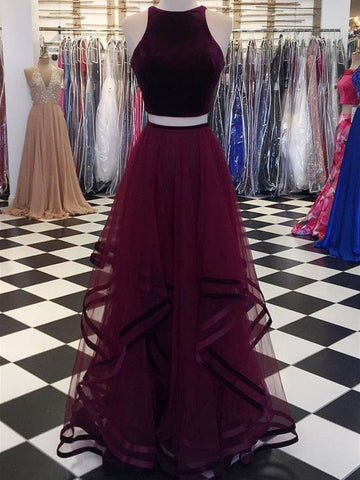 Round Neck 2 Pieces Tulle Purple Long Prom Dresses, 2 Pieces Purple Formal Dresses, Evening Dresses