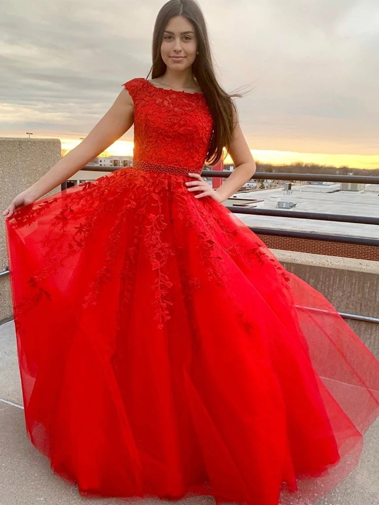 Round Neck Cap Sleeves Lace Red Long Prom Dresses, Cap Sleeves Red Lace Formal Dresses, Red Lace Evening Dresses, Red Ball Gown
