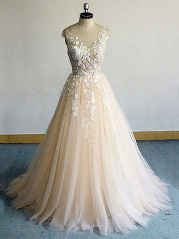 Round Neck Champagne Lace Long Prom Dresses, Champagne Lace Formal Dresses, Champagne Evening Dresses