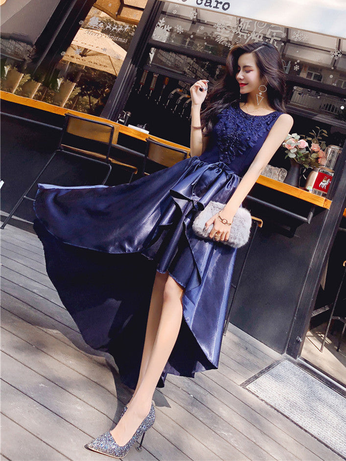 c2fcf5606b73 Round Neck High Low Satin Lace Navy Blue Prom Dresses