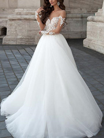 Round Neck Long Sleeves Backless Lace White Wedding Dresses, Lace White Prom Dresses, Prom Gown, Formal Dresses