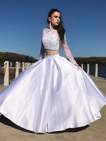 Round Neck Long Sleeves Two Pieces Lace White Prom Dresses, Long Sleeves White Lace Formal Dresses, Two Pieces White Lace Evening Dresses