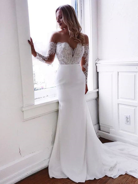 Round Neck Mermaid Lace Top White Long Prom Wedding Dresses with Train, Mermaid White Lace Formal Dresses, Mermaid White Evening Dresses