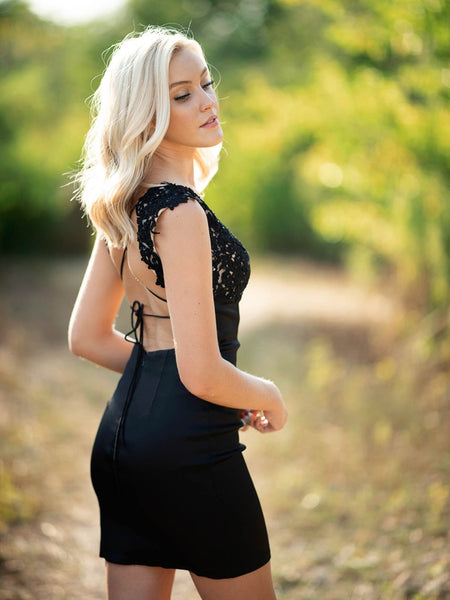 Round Neck Mermaid Open Back Lace Black Short Prom Dresses Homecoming Dresses, Mermaid Backless Black Lace Formal Graduation Evening Dresses