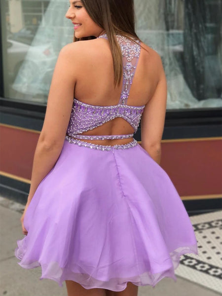Round Neck Two Pieces Beaded Purple Short Prom Dresses Homecoming Dresses, Two Pieces Beaded Purple Formal Graduation Evening Dresses
