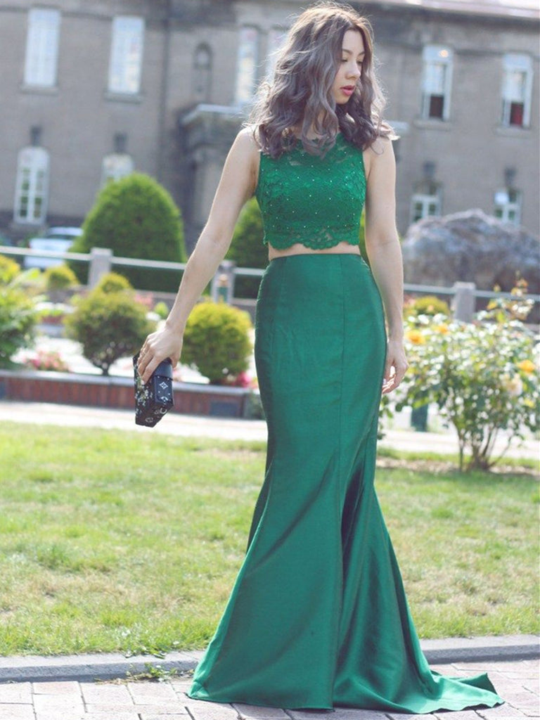 Round Neck Two Pieces Mermaid Beaded Lace Green Prom Dresses, Mermaid Lace Green Formal Dresses, Green Evening Dresses