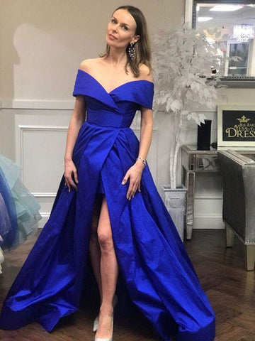 Royal Blue Off Shoulder Satin Long Prom Dresses with High Slit, Off Shoulder Royal Blue Formal Dresses, Royal Blue Evening Dresses