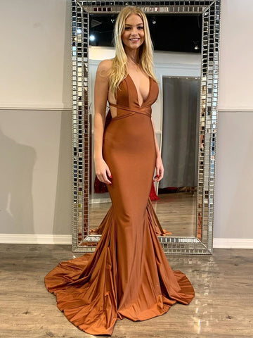 Sexy V Neck Backless Mermaid Clay Satin Long Prom Dresses, Mermaid Clay Formal Dresses, Clay Evening Dresses