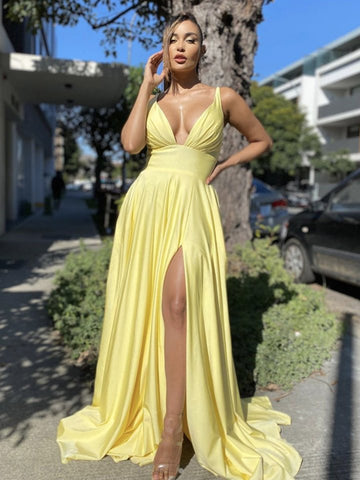 Sexy V Neck Backless Yellow Long Prom Dresses with Split, Backless Yellow Formal Dresses, Yellow Graduation Evening Dresses