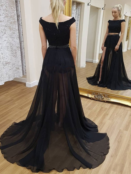 Sexy A Line Round Neck Two Piece Beading Black Prom Dresses, Black Two Piece Formal Dresses, Black Long Evening Dresses