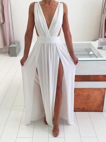 Sexy A Line V Neck White Chiffon Long Prom Dresses with High Slit, V Neck White Formal Dresses, White Graduation Dresses