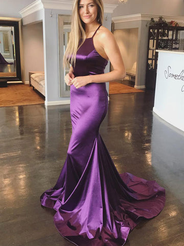 Sexy Purple Mermaid Backless Satin Long Prom Dresses with Cross Back, Purple Formal Dresses, Backless Evening Dresses 2019