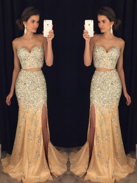 Sexy Sweetheart Neck Two Pieces Mermaid Beaded Champagne Prom Dresses 2019, Two Pieces Mermaid Champagne Formal Dresses, Evening Dresses