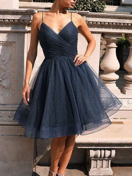 Shiny A Line V Neck Dark Blue Short Prom Dresses, V Neck Dark Navy Blue Formal Graduation Homecoming Dresses
