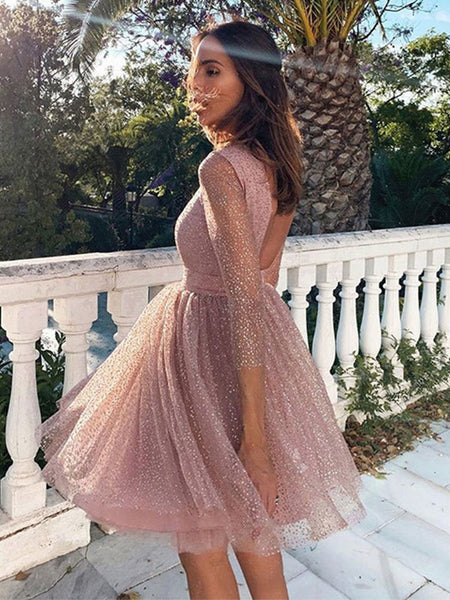 Shiny Long Sleeves Sequins Short Pink Prom Dresses, Long Sleeves Pink Formal Graduation Homecoming Dresses