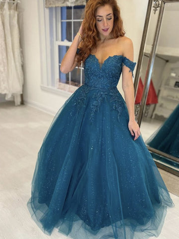 Shiny Off Shoulder Blue Lace Long Prom Dresses, Sparkly Blue Lace Formal Evening Dresses