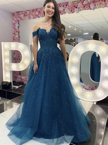 Shiny Off Shoulder Long Blue Lace Prom Dresses, Blue Lace Formal Dresses, Sparkly Blue Evening Dresses