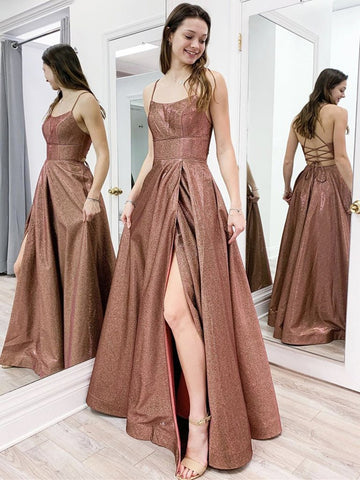 Shiny Open Back Brown Long Prom Dresses with Slit, Sparkly Brown Formal Evening Dresses