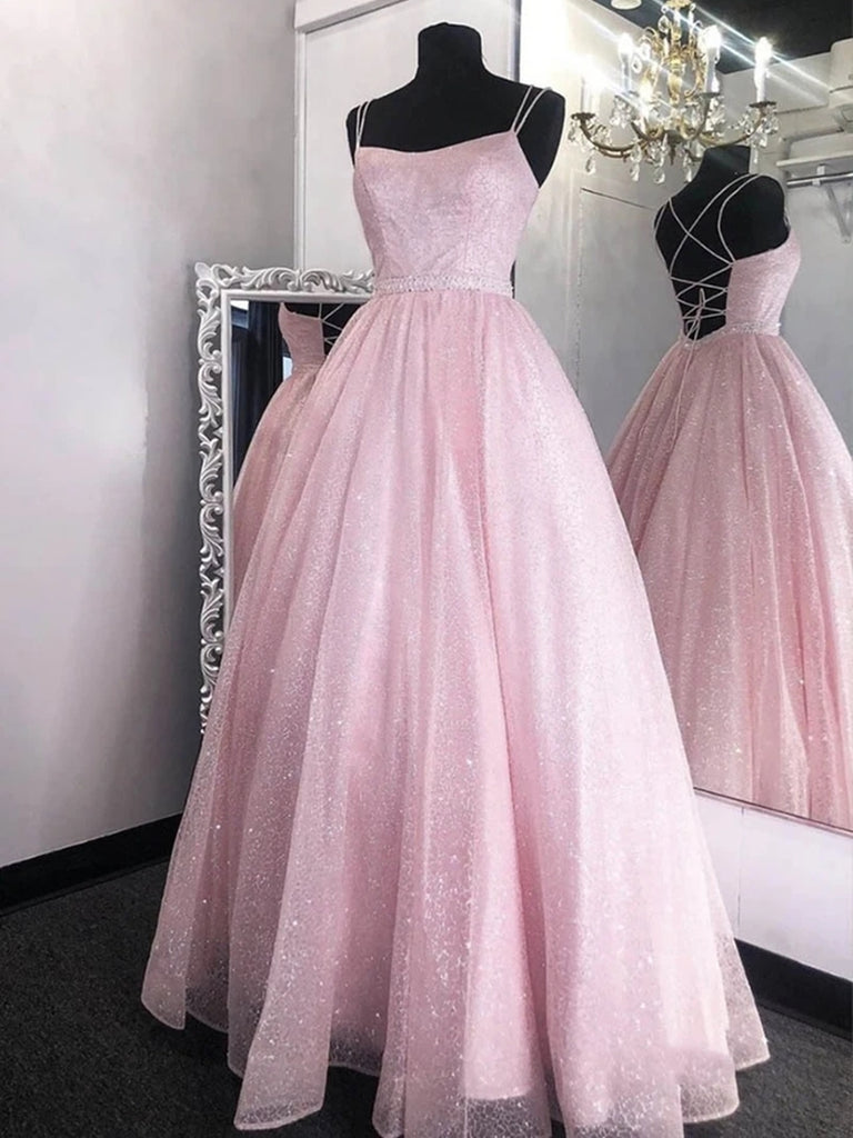 Shiny Sequins Backless Pink Long Prom Dresses, Backless Pink Formal Graduation Evening Dresses