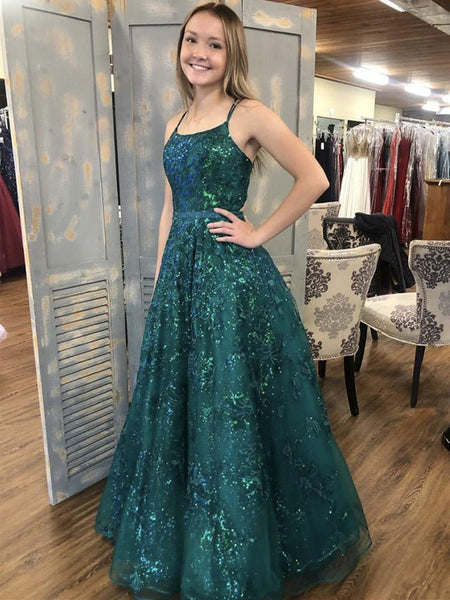 Shiny Sequins Green Lace Long Prom Dresses, Green Lace Formal Dresses, Sparkly Green Evening Dresses