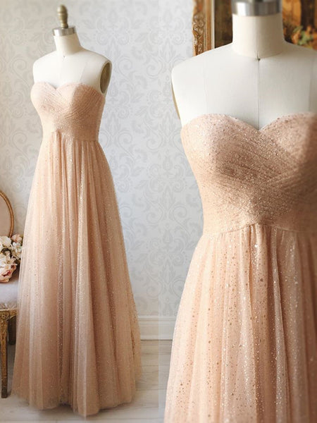 Shiny Sequins Strapless Champagne Long Prom Dresses, Champagne Formal Dresses, Sparkly Evening Dresses