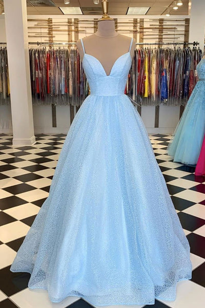 Shiny Sequins V Neck Long Blue Prom Dresses with Straps, V Neck Blue Formal Graduation Evening Dresses